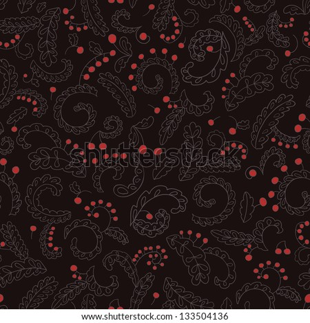 Vintage Lacy Leaf Berry Seamless Pattern Copy that square to the side and you'll get seamlessly tiling pattern which gives the resulting image ability to be repeated or tiled without visible seams. - stock vector