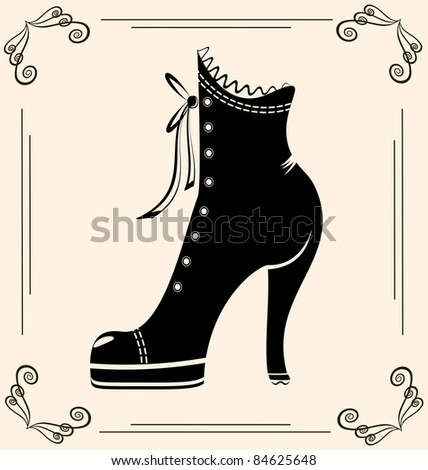 vintage ladies' shoe - stock vector