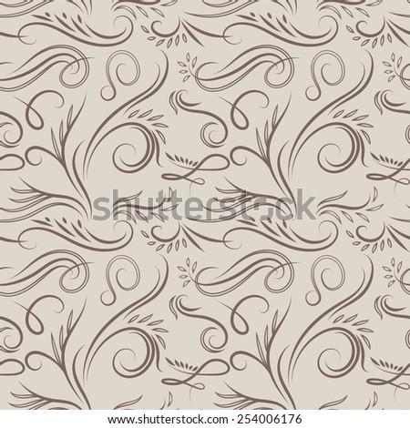 Vintage latte pattern | Classical swirl vector seamless background for wallpaper and textile design