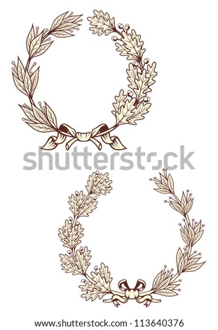 Vintage laurel wreathes with retro elements isolated on white background. Jpeg version also available in gallery - stock vector