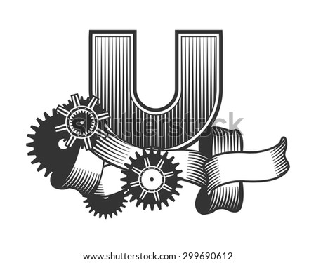 Vintage letter randomly drawn bars decorated with ribbons metal parts gears steam punk style, on a white background, letter U - stock vector