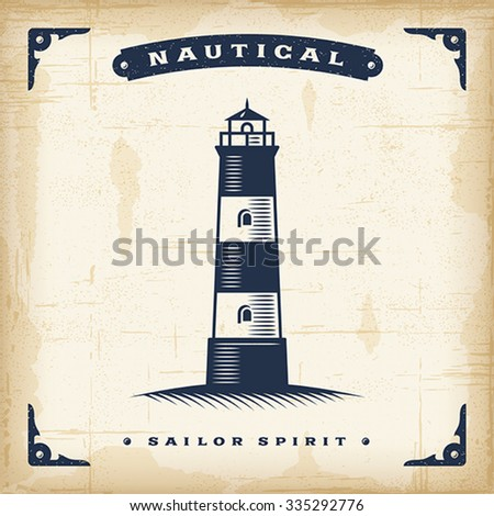 Vintage Lighthouse Editable EPS10 vector illustration. Use gradient mesh and transparency.