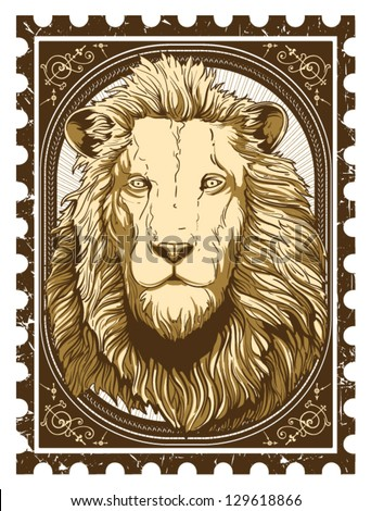 Vintage lion - stock vector