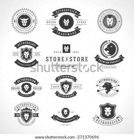 Vintage Lion Logotypes set mascot emblem symbol. Can be used for shirts print, labels, badges, stickers vector illustration. - stock vector