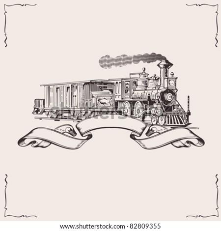 Vintage Locomotive Banner. Vector illustration. - stock vector