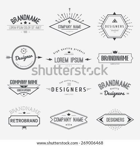 vintage logo set retro design elements stock vector 269006468 shutterstock. Black Bedroom Furniture Sets. Home Design Ideas