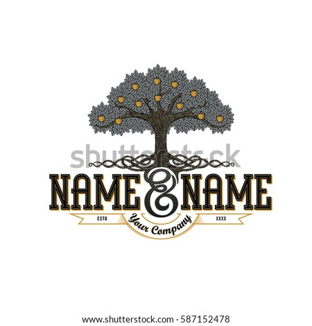 Vintage Logo Template An Apple Tree With Luxurious Roots