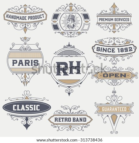 vintage logo template, Hotel, Restaurant, Business Identity set. Design with Flourishes Elegant Design Elements. Royalty. Vector Illustration - stock vector