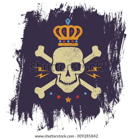 Vintage logo with skull and crown - stock vector