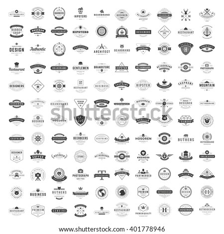 Vintage Logos Design Templates Set. Vector logotypes elements collection. Big Collection 120 Items. - stock vector