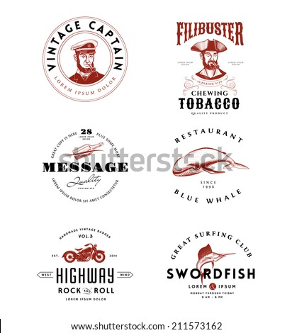 Vintage Logos Set - stock vector