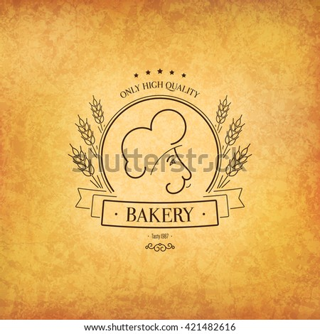 Vintage logotype for bakery and bread shop. Food and drinks logotype symbol design. Crumpled vintage paper background - stock vector