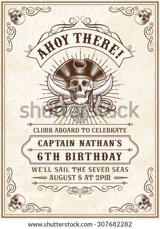 Vintage Looking Invite Template for a Party or Event with Death or Pirate Theme - stock vector