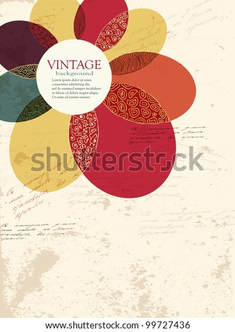 Vintage lorful flower grunge texture vector background - stock vector