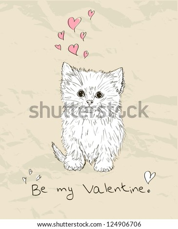 Vintage love card with kitten. Vector illustration EPS8 - stock vector