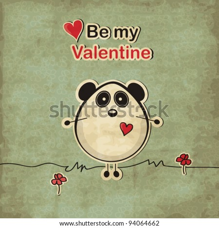 Vintage love card with panda bear, Valentine's day illustration - stock vector