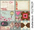 Vintage love set, postcards, hearts, roses, labels and seamless patterns - stock vector