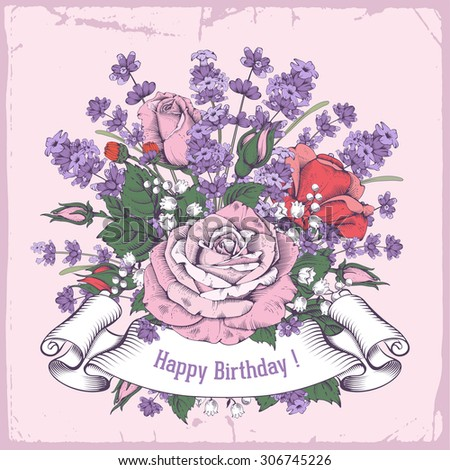 Vintage luxury greeting card with detailed hand drawn flowers - blooming rose and lavender. Retro styled ribbon with space for your text. Vector. Easy to edit. - stock vector
