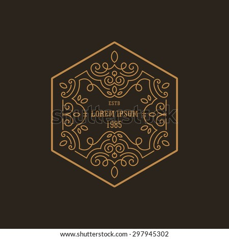 Vintage Luxury Logo design hexagon shape template flourish calligraphic elegant.  Business logotype emblem, identity for Boutique ,Restaurant, Heraldic, Jewelry, Fashion illustration lineart style. - stock vector