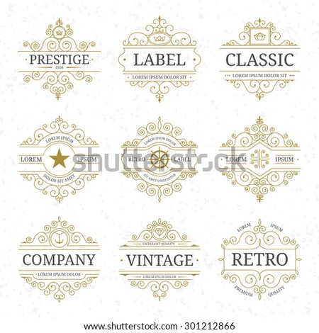 Vintage luxury logo template set with flourishes elegant lines. Restaurant, boutique, cafe, shop, hotel, jewelry, heraldic identity. Vector illustration - stock vector