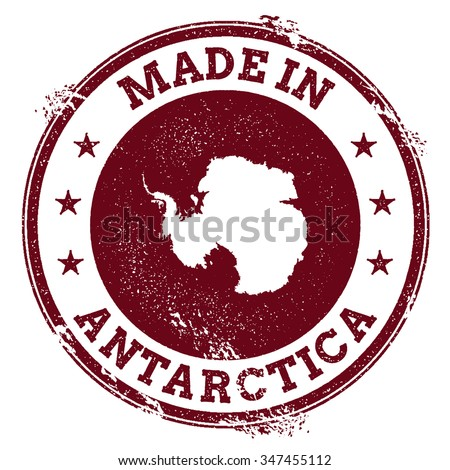 Vintage Made in Antarctica stamp. Grunge rubber stamp with Made in Antarctica text and country map, vector illustration - stock vector
