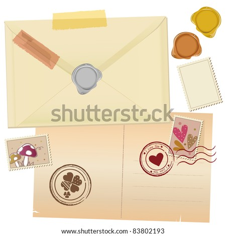 Vintage Mail Graphic - stock vector