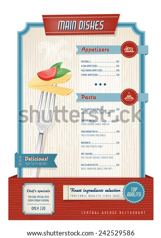 Vintage main course menu with fork and pasta - stock vector