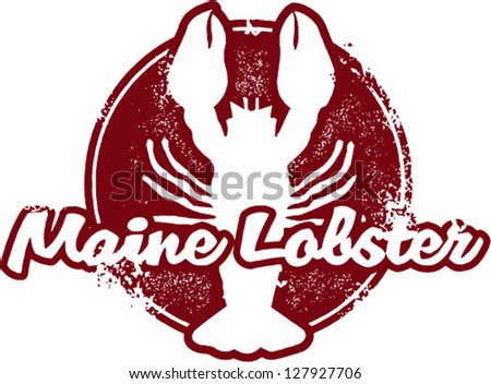 Vintage Maine Lobster Seafood Stamp - stock vector