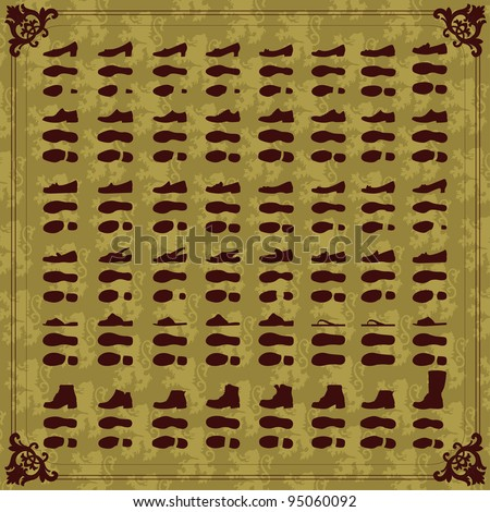 Vintage man and women shoes silhouette collection background illustration vector - stock vector