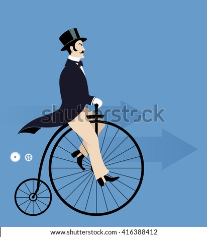 Vintage man riding a retro bike - stock vector