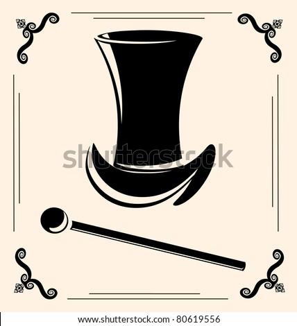vintage man's hat - stock vector