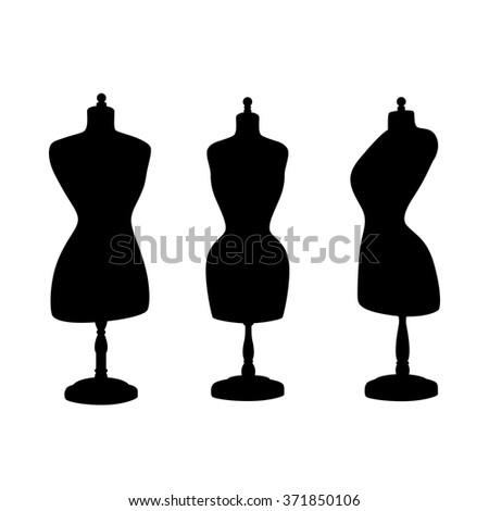 Vintage mannequins. Vector silhouettes. - stock vector