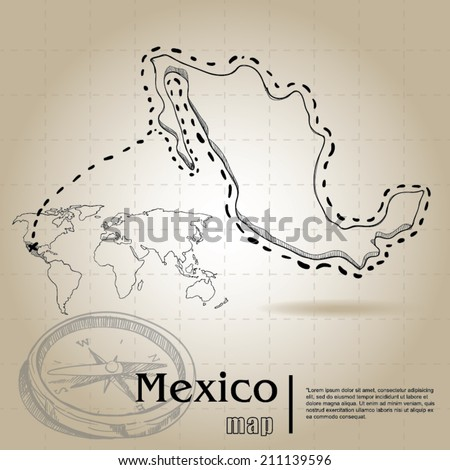 vintage map of Mexico - stock vector
