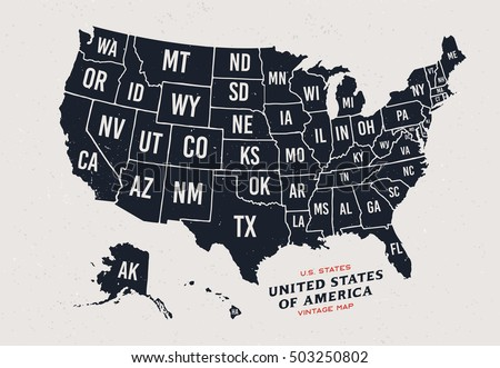Vintage Map United States America 50 Stock Photo Photo Vector