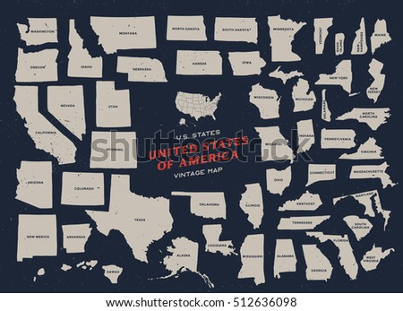 Vintage Map United States America Stock Vector - Us map dark