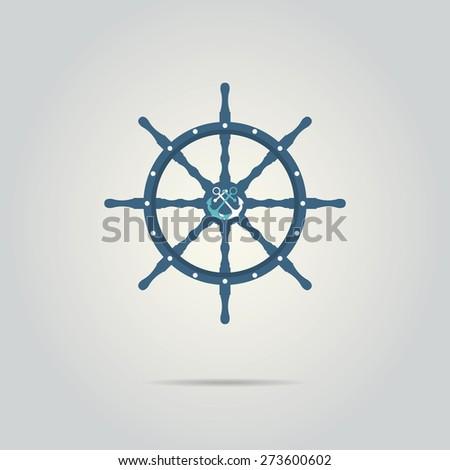 Vintage marine card with steering wheel. Vector illustration - stock vector
