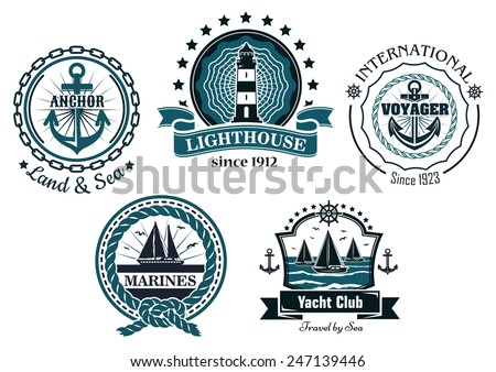 Vintage marine labels and emblems showing anchors, lighthouse, yachts decorated stars, steering wheels, ropes, chains and ribbon banners - stock vector