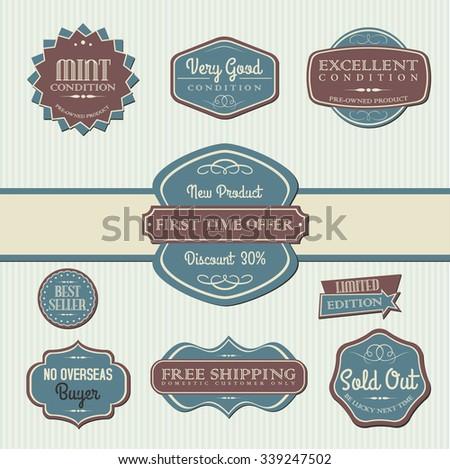 vintage marketing labels - stock vector