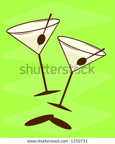 Vintage martini vector illustration. See my gallery for more of this series. - stock vector