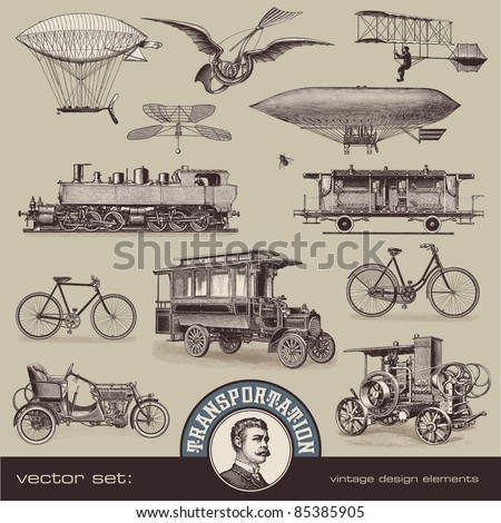 vintage means of transportation - set 2 - stock vector