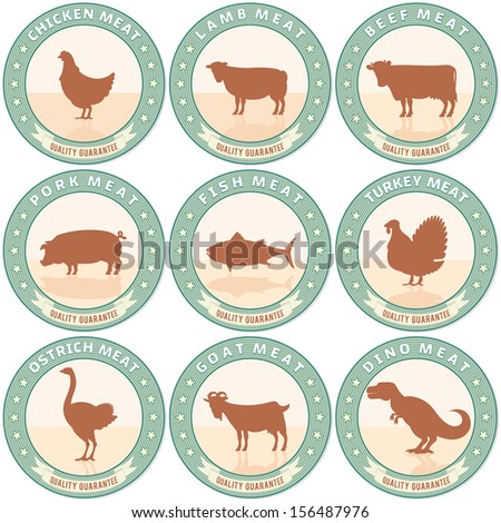 Vintage Meat Labels with Farm Animal Icons. Retro Style Vector Set - stock vector