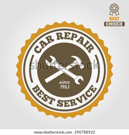Vintage mechanic labels, emblems and logo. Vector illustration - stock vector