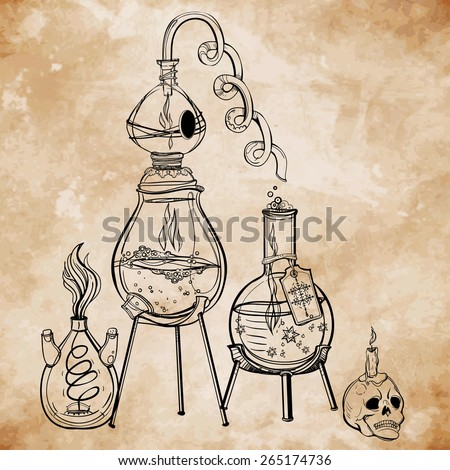 Vintage medieval alchemy laboratory equipment on aged paper card background with scull and retorts. Concept art. Vector illustration. Witchcraft. - stock vector