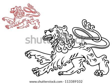 Vintage medieval lion silhouette for heraldry design, such a logo template. Jpeg version also available in gallery - stock vector