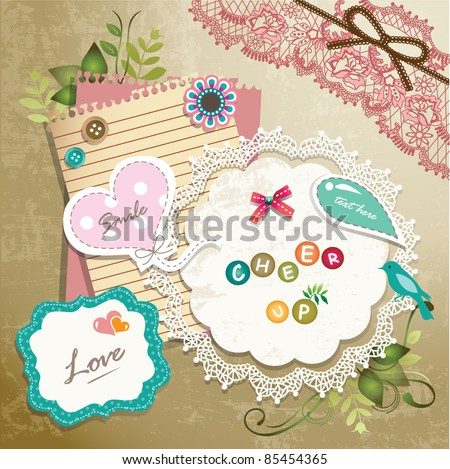 Vintage memo scrapbook elements 01 - stock vector