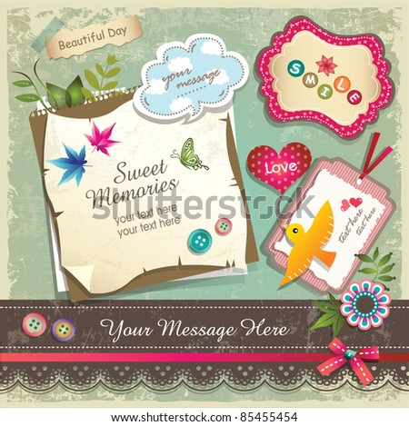 Vintage memo scrapbook elements 02 - stock vector