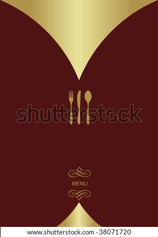 Vintage Menu Background. Food and restaurant design with golden cutlery silhouette. Vector available