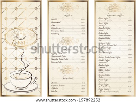 vintage menu for restaurant, cafe, bar, coffeehouse - stock vector