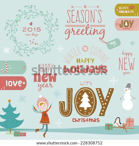 Vintage Merry Christmas And Happy New Year Calligraphic And Typographic Background. Greeting stylish illustration of winter elements. Good for design, cards or posters. Scrapbooking. - stock vector
