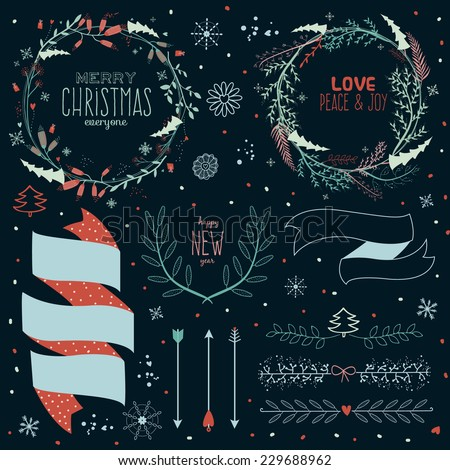 Vintage Merry Christmas And Happy New Year Calligraphic And Typographic Background. Greeting stylish illustration of winter romantic flower labels, ribbons, wreaths, laurels. Good for cards or posters - stock vector